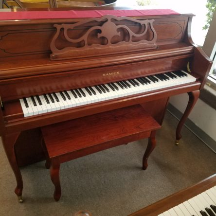 1990 Samick JS143F Console Piano French Provincial Cherry