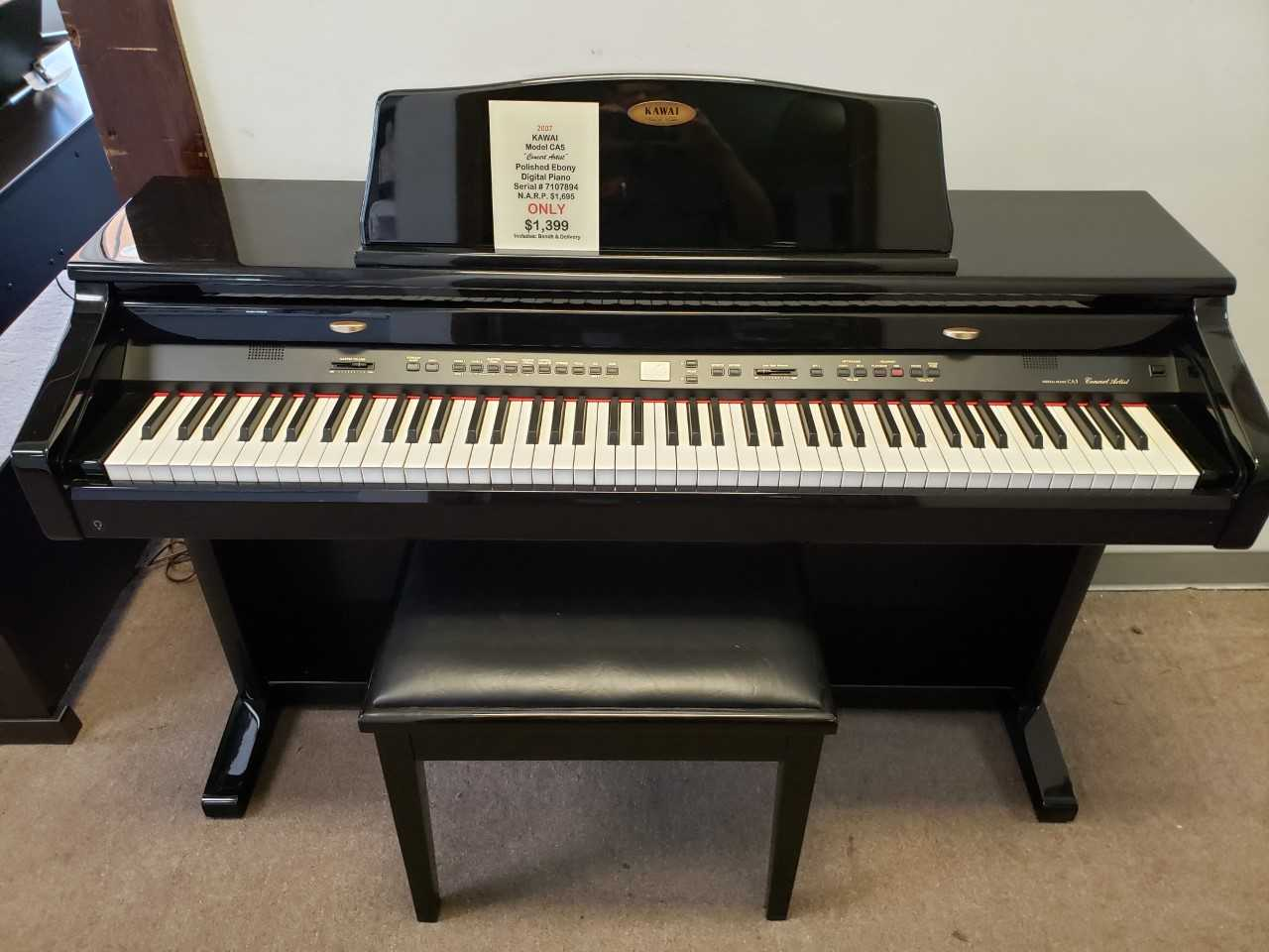 "2007 Kawai Model CA5 ""Concert Artist"" Polished Ebony Digital Piano"